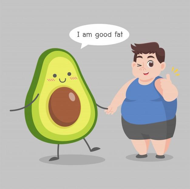 overweight man love avocado illustration