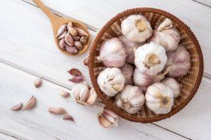 close up group garlic white